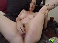 Nice seductive video category milf (385 sec). Hot brunette pounds hairy vagina and bald asshole.