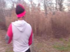 Sex romantic video category exotic (384 sec). Cali kush big booty gets bang outdoors while running.