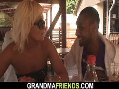Sexy video category interracial (370 sec). Her old mommy is used by two horny dudes.