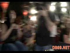 Genial sensual video category orgy (333 sec). Girls sucks dick and gets cum all.