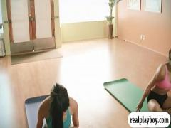 Full stream video category blonde (360 sec). Big boobs instructor and two brunettes yoga while naked.