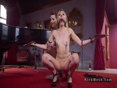 Play video link category bdsm (320 sec). Gagged slave deep throated in threesome.